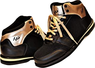 Men's High Top Bowling Shoe for Right Handed Bowler, Rubber Bottom, Foam Padded Tounge & Collar, Unique Style - Gold and Black