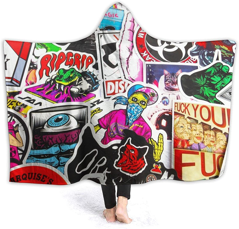 Dougsumm Interesting Cartoon Picture Sales for sale Hooded Wear Blanket Flannel unisex