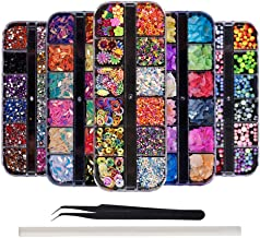 GOTONE 5 Boxes Nail Jewelry Decorations, Nail Studs Colorful Nail Beads and Rhinestones Raindrop Sequins Glitter Diamonds Pearls Kit with Tweezers and Picker Pencil for Nail Art Supplies(Set B)