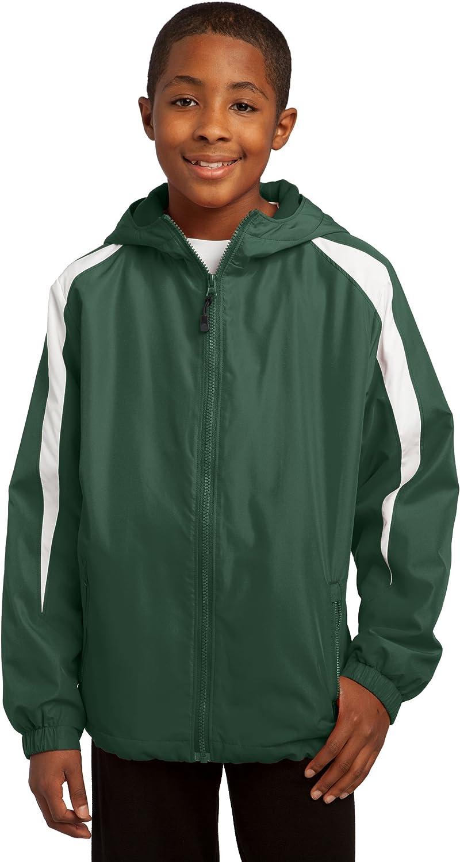Sport-Tek Youth Fleece-Lined Hooded Colorblock Jacket YST81 Forest/White
