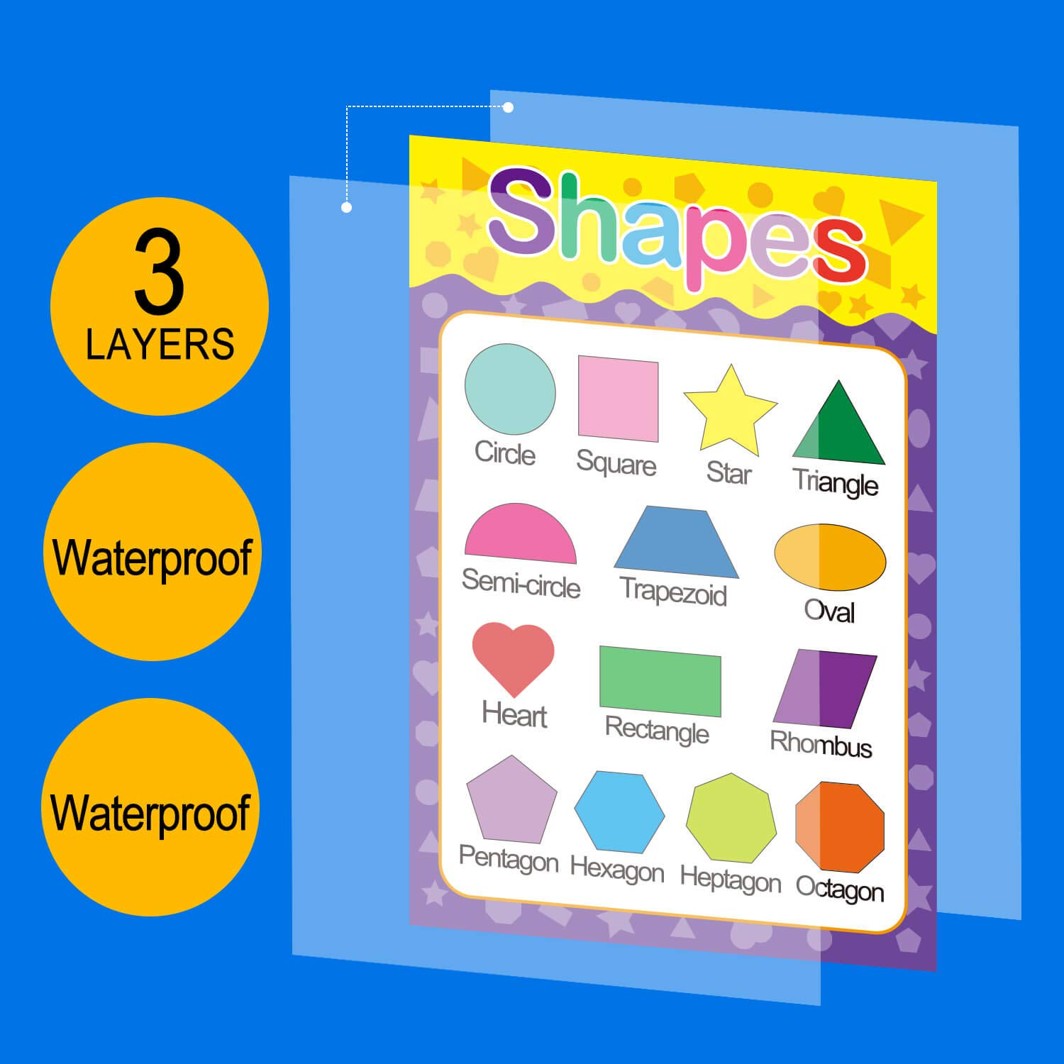 Teach Numbers Alphabet Colors Days and More 8.3 x 11.7 Inch Double Layer Printing DFZUS 12 Pack Educational Preschool Poster for Toddler and Kid Dot for Nursery Homeschool Kindergarten Classroom