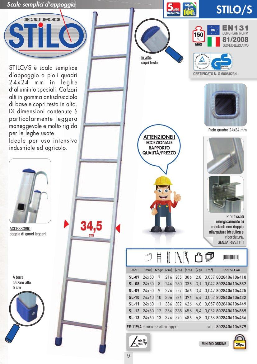 ESCALERA APPOGIO UNA RAMPA FACAL CAPACITIVO DE ALUMINIO 12 GR.NI H. 3,66 MT.: Amazon.es: Bricolaje y herramientas