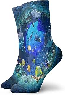 QUEMIN, Blue Ocean Sea World Coral Dolphin Classic Sport Short Crew Calcetines 30 cm / 11,8 pulgadas Adecuado para hombres y mujeres