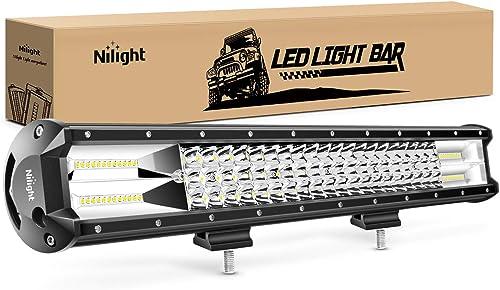 Nilight - 18005C-A 26Inch Triple Row Lights 297W 29700LM Flood Spot Combo Beam Bar Driving Boat Super Bright Led Off Road Trucks,2 Years Warranty