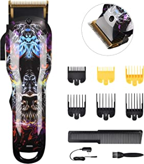 BESTBOMG Cordless Hair Clippers for Men Kids Built-in 2000mAh Professional Barber Supplies Hair Trimmer Hair Cutting Kits Machine Titanium Ceramic Blade with 6 Guide Combs
