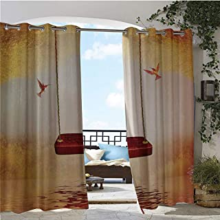 GUUVOR Balcony Curtains, Red Hammock and Hummingbird in a Peaceful Lake Fantasy Fairytale Scene Image, Outdoor Patio Curtains Waterproof with Grommets W96 x L96 Inch Red Ivory