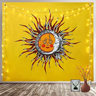Neovoo Tapestry Sun and Moon Hippie Psychedelic Mystic Wall Hanging Nature Art Home Decorations for Living Room Bedroom (Medium-59 x 51 inches)
