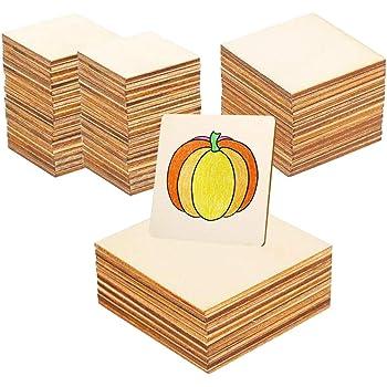 Quadratisch Abgerundete Ecken Brandmalerei F/ür Bastelarbeiten als Untersetzer - Unbehandelt Unlackiert Bright Creations Holzausschnitte Ornamente Set, 60 St/ück 7,6 x 7,6 cm