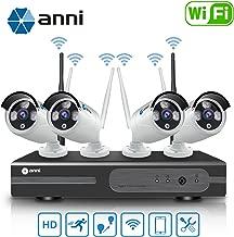 Anni Kit de Cámaras Seguridad WiFi Vigilancia Inalámbrica Sistema 1080P 8CH HD NVR, (4) 1.0MP 720P Cámara CCTV Kit de Seguridad,P2P,Outdoor Visión Nocturna de Cámara De Sistema De Vigilancia,NO HDD