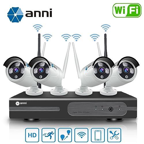 Anni Kit de Cámaras Seguridad WiFi Vigilancia Inalámbrica Sistema 1080P 4CH HD NVR,(4