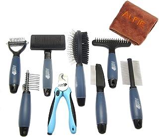 Alfie Pet - Devin 8-Piece Home Grooming Set - Flea Comb, Double Comb, Demat Comb, Mat Breaker, Slicker Brush, Double Brus...