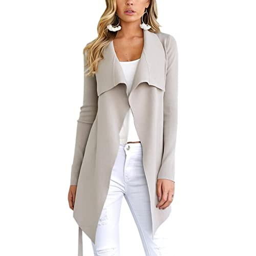 ff6aca4d7d ECOWISH Womens Winter Lapel Irregular Long Sleeves Jacket Open Front  Cardigans Trench Coat