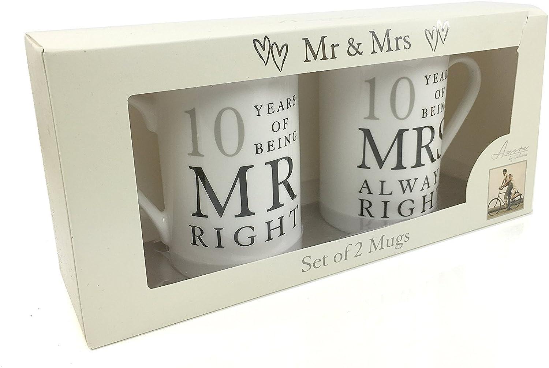 10th Wedding Anniversary Gift  Pair of Mugs