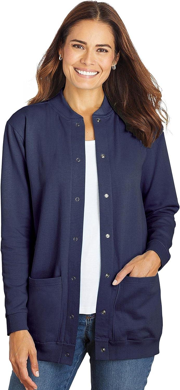 AmeriMark Women's Fleece Cardigan Sweater –Lightweight Soft Long Sleeve Jacket