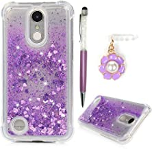 LG K20 Case, LG K20 Plus Case, LG K10 Case 2017, LG K20 V Case, Glitter Liquid Cover Quicksand Bling Sparkle Flowing Love Heart Bumper Anti-Scratch Drop TPU Shell with Charm Dust Plug ZSTVIVA - Purple