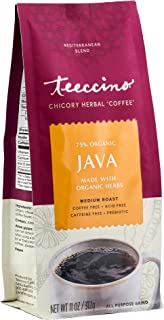Teeccino Chicory Coffee Alternative - Java - Ground Herbal Coffee That's Prebiotic, Caffeine Free & Acid Free, Medium Roas...