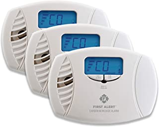 FIRST ALERT Dual-Power Plug-In Carbon Monoxide Detector with Battery Backup and Digital Display, 3-Pack, CO615 , White