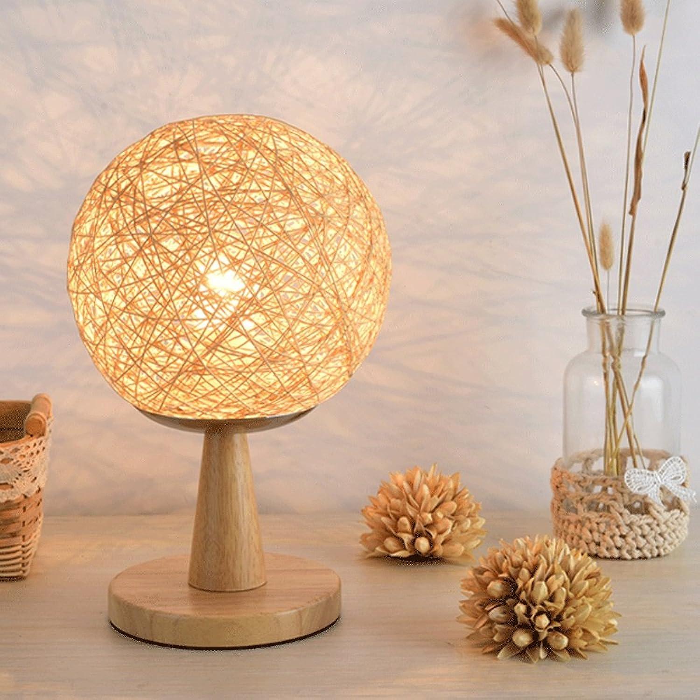 Hanf-Ball-Tischlampe für Schlafzimmer Moderne einfache Woody Rattan Art Schlafzimmer Echte Holz Nachttischlampe (gre   High)
