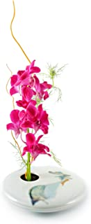 Georgetown Pottery Round Ikebana Flower Vase, Ivory Wave