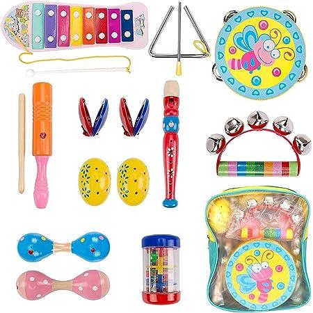 Dkinghome Instruments de Musique pour Bébé, Ensemble de Jouets Musicaux pour Tout-Petits en Bois, Jouets Educatifs Cadeaux avec Instruments à Secouer, à Taper