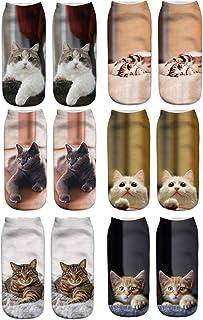 Longyangqk, 3D de la Mujer Loca Divertido Lindo Dibujos Animados Animales Cortos Tobillo Calcetines 6 Pack Set Gato Impreso