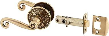 Lancaster Door Set with Scroll Design Levers Left Hand Privacy in Antique Brass. Doorsets.