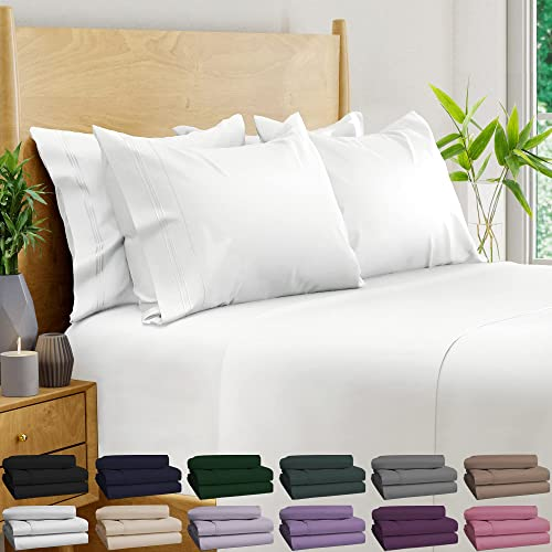 new arrival 6 Piece Bamboo online sale Sheets 100% Organic Bamboo Sheets Bamboo sale Bed Sheets Cooling Sheets Deep Pocket Bed Sheets King Size, White outlet online sale