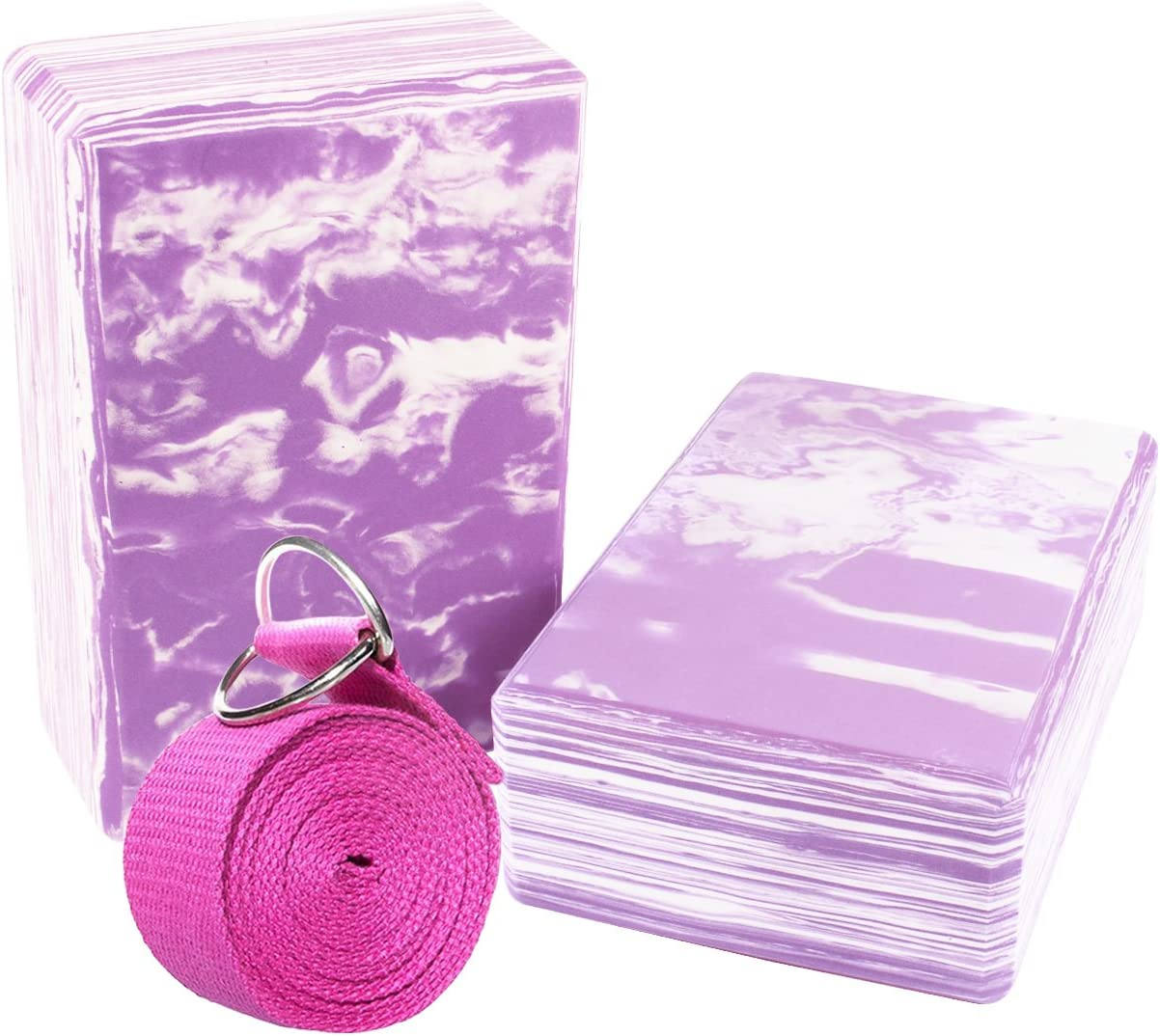Yoga Block and Yoga Strap with Metal D-Ring Odor-Resistant and Moisture-Proof High Density EVA Foam Yoga Block to Support and Deepen Poses 2 Pack per Set Yoga Foam Brick