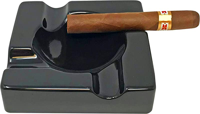 Cigar Ashtray Outdoor Cigarette Ash Tray 5 9 Inch Ceramic Ashtrays Black Glossy Cigar Rest For Indoor Outdoor Patio Home Office Use Cigar Accessories Gift Set For Men And Women