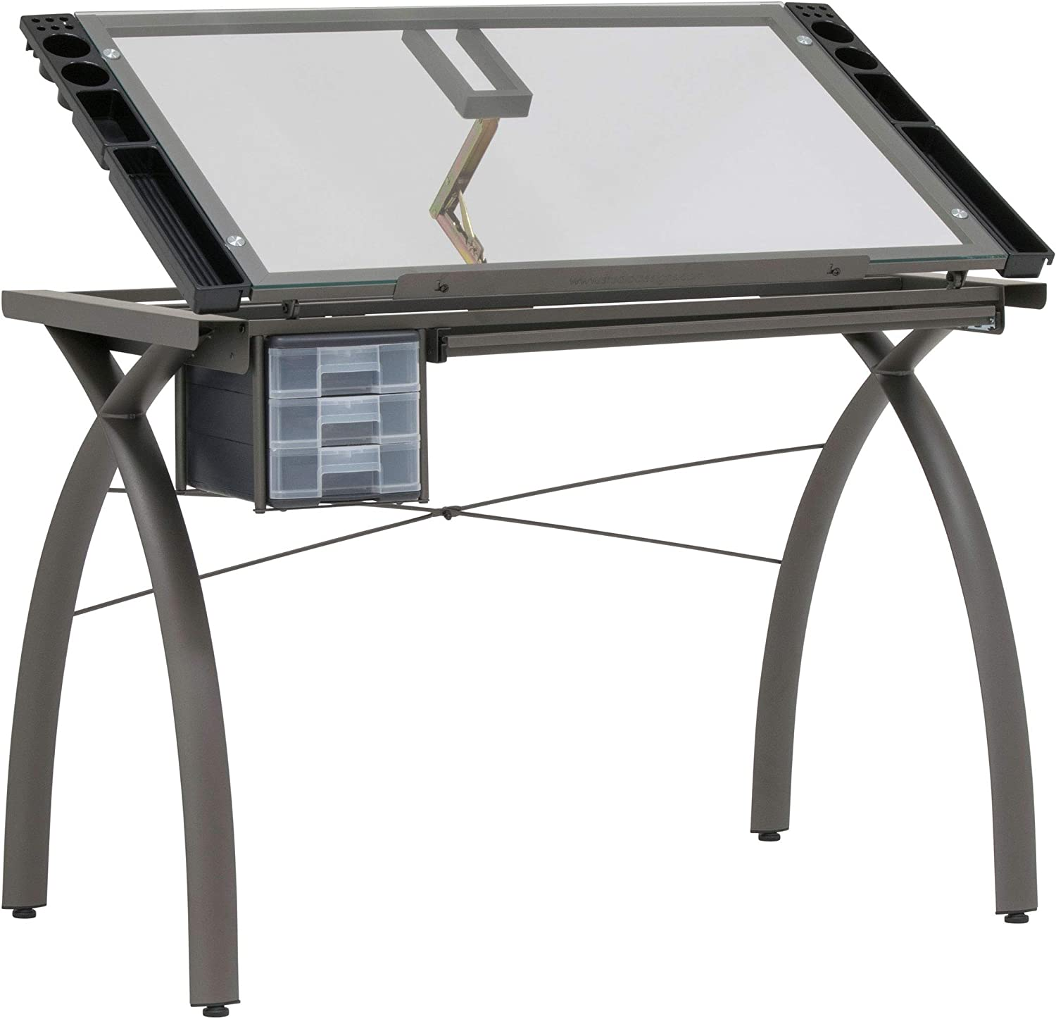 Studio Designs Futura 38013 Metal and Glass Hobby Desk in Pewter   Clear Glass