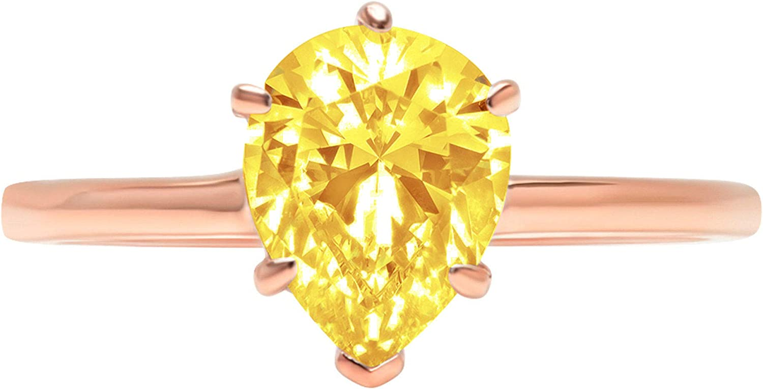 1.9ct Brilliant Pear Cut Solitaire Canary Yellow Simulated Diamond Cubic Zirconia Ideal VVS1 D 6-Prong Engagement Wedding Bridal Promise Anniversary Ring Solid 14k Rose Gold for Women