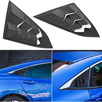 Matt Black Thenice for 10th Gen Civic Racing Style Rear Side Window Louvers Air Vent Scoop Shades Cover Blinds for Honda Civic Sedan 2020 2019 2018 2017 2016