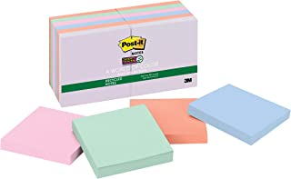 Post-it Super Sticky Recycled Notes, 3x3 in, 12 Pads, 2x the Sticking Power, Bali Collection, Pastel Colors (Lavender, Apr...