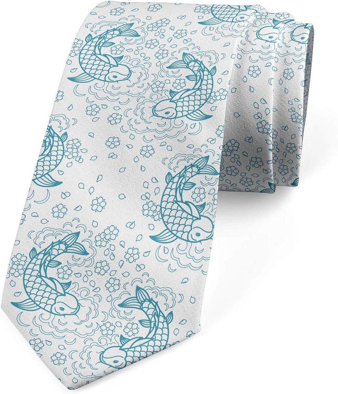 Lunarable Men's Tie, Simplistic Floral Petals Retro, Necktie, 3.7