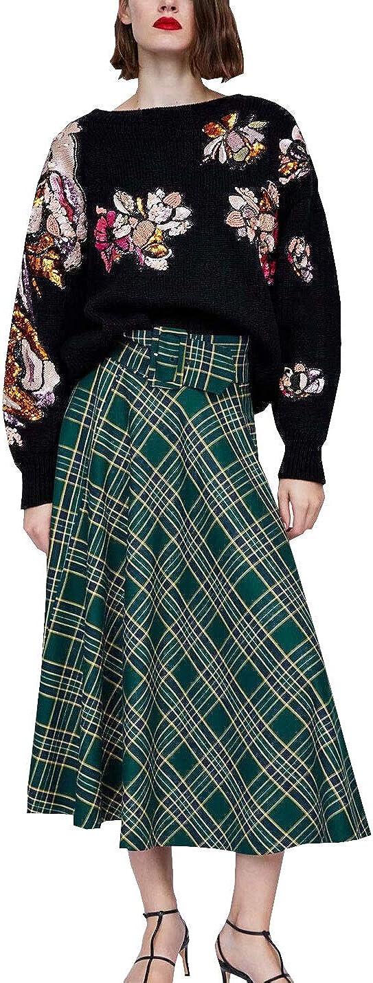 D.B.M Women's Fashion Slim Elastic High Waist A-line Plaid Mid-Length Dress