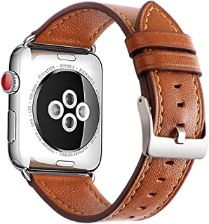 Mkeke Compatible with Apple Watch Band 42mm 44mm Genuine Leather Apple Watch Series 4 Series 3 Series 2 Series 1 42mm 44mm Bands,Brown
