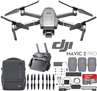 DJI Mavic 2 Pro Drone Fly More Kit with Hasselblad Camera 1-inch CMOS Sensor and 2X Flight Batteries, Car Charger, Battery Hub, Power Bank Adapter, Propellers, Bag & Memory Card Bundle