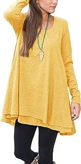 Women Long Sleeve Lace Hem Blouse Layered Scoop Neck Tunic Loose Fit Dress