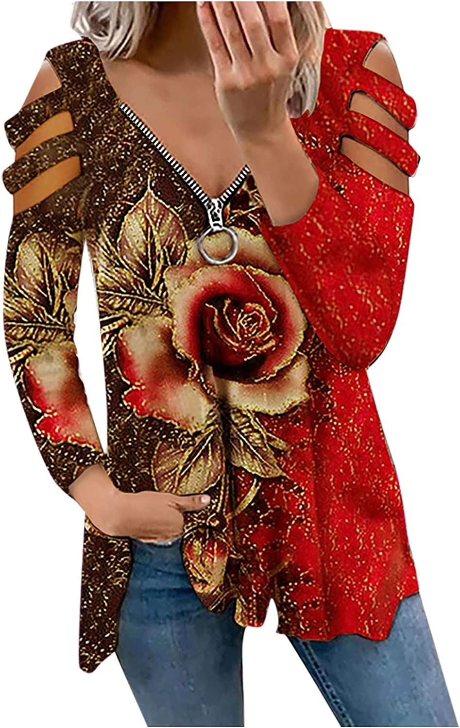 Womens Tops V-Neck Zipper Strapless T-Shirts Butterfly Floral Printed Blouses Long Sleeve Hollow Out Tunic