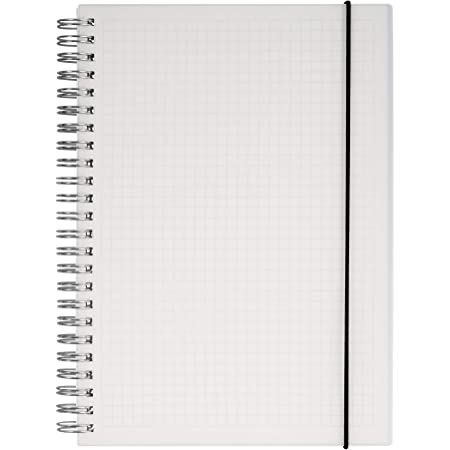 HULYTRAAT Hardcover Graph Ruled Spiral Notebook, 5.8 x 8.3 Inches A5, Transparent, 160-Page 80-Sheet Square Grid Journal (AWPPS1)