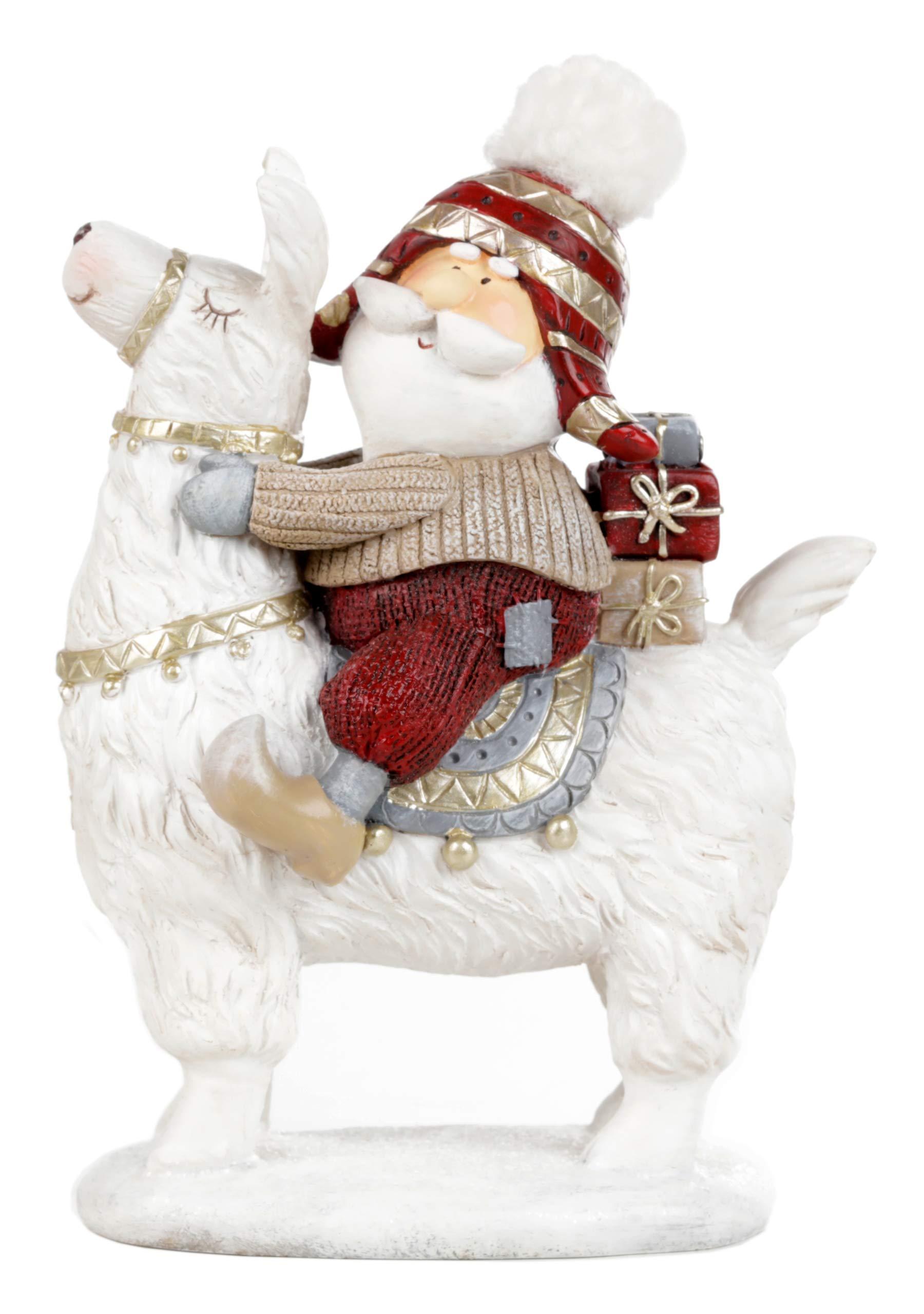 Image of A Favorite: Super Cute Santa Riding a Llama Christmas Figurine