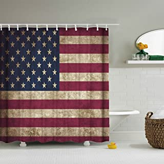 American Flag Shower Curtain USA Decor, Fourth of July Independence Day Themed Art Print Flag Painted on Wooden Planks, Po...