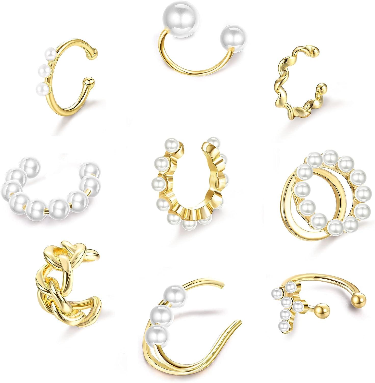 IRONBOX 9Pcs Pearl Ear Cuffs For Non-Pierced Ears Gold Dainty Helix Cuff Earrings For Women Clips On Cartilage Earrings