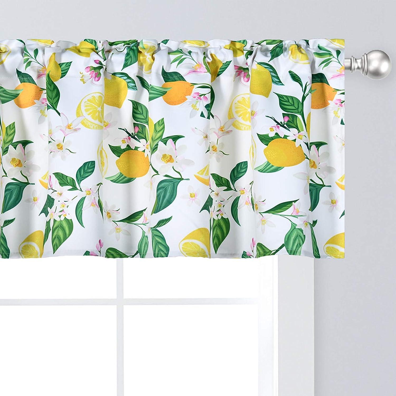 Yellow Lemon Sale price Valance Over item handling for Windows Botanical Floral Print Vintage