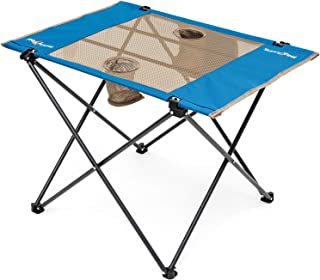 Sunnyfeel Fabric Foldable Camping Table, Compact, Lightweight, Folding Table with Cup Holder & Side Pocket for Beach/Lawn/...