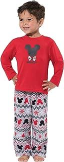 PajamaGram Toddler Mickey Mouse Pajamas - Comfy Cozy Baby Pajamas, Red/Green