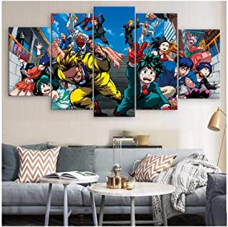 Canvas Prints Poster 5 Piece My Hero Academia Animation Pictures Art Artworks for Paintings for Living Room Wall Decor,A,3...