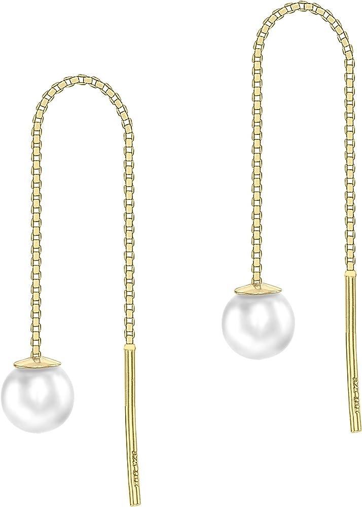Carissima gold orecchini pendenti in oro giallo 9 kt, con perla d`acqua dolce cinese. 1.59.0369