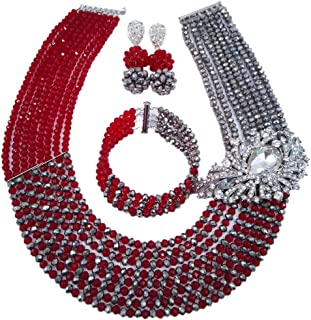 Jewellery 8 Rows Red and Multicolor Gradient Crystal African Beads Nigerian Wedding Jewelry Sets