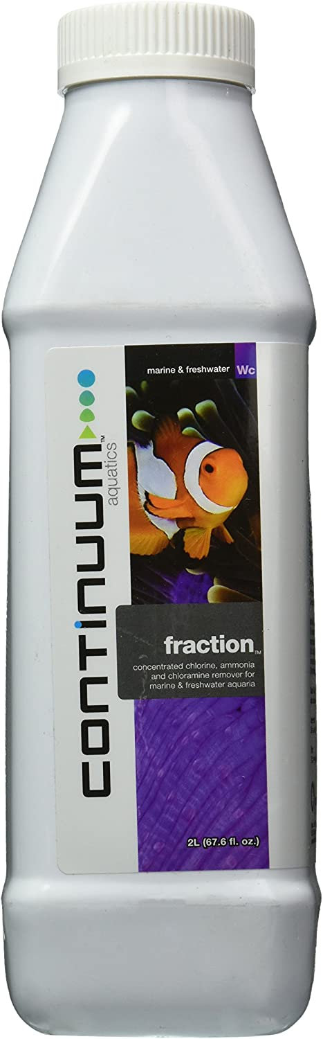Continuum Aquatics Fraction, Concentrated, Low Odor, Chloramine, Ammonia and Chlorine Remover for All Marine Fish and Reef Aquaria, 2Liter